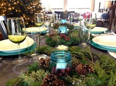 Blue and Green Christmas Table | ReluctantEntertainer.com