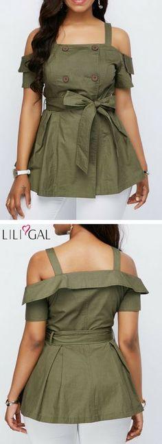 Belted Cold Shoulder Button Detail Blouse #liligal #top #blouse #shirts #tshirt