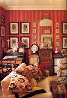 Classic English room. Red stripe wallpaper.