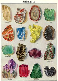 Minerals Gems antique prints 1920s art print von AntiqueWallPrints