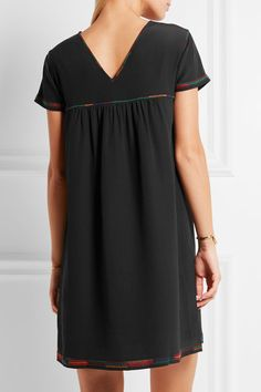 Black silk crepe de chine Slips on 100% silk; lining: 100% polyester Dry clean Imported