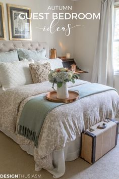 Fall Guest Room Decor If You Have Guests Visiting This Autumn, Here Are 5 Fall Guest Bedroom Ideas To Help Your Visitors Feel Welcome In Your Home. Guest Bedrooms, Room, Spare Bedroom, Guest Room Essentials, Small Guest Bedroom, Fall Bedroom Decor, Guest Room Decor, Cozy Guest Rooms, Room Decor