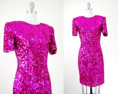 1980s sequins party dress / hot pink / small by HinterlandVintage