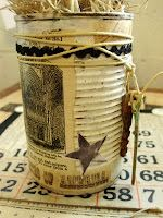Rusted soup can DIY by Just Lilla- Love the look of these!  The options are endless!