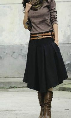 I would wear this! full shin length skirt, boots, relaxed fit long sleeve shirt. The 2 belt thing is cool, but i don't buy matching belts like that. One's enough. Nor do i have one belt that looks like 2 belts haha | best stuff