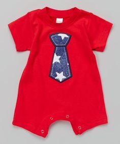 Look what I found on #zulily! Red Star Tie Romper - Infant #zulilyfinds