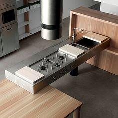 Cucina comprensiva di piano cottura a 4 fuochi, cappa e lavello. Piano in acciaio Collezione Lando Convivio, Lando Srl