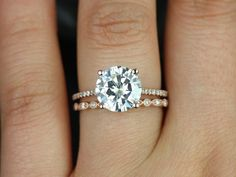 Eloise 9mm & Ultra Petite Bead Eye 14kt Gold FB Moissanite and Diamonds Cathedral Wedding Set (Other metals and stone options available)