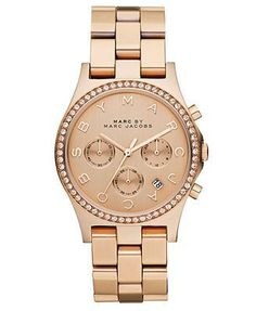 Montre pour femme : Marc by Marc Jacobs Watch Women's Chronograph Henry Rose Gold Ion Plated St