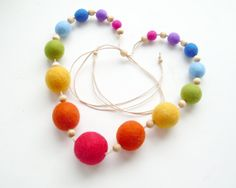 Felted Bead Necklace for Girls  - Rainbow handmade wool jewelry with bells inside