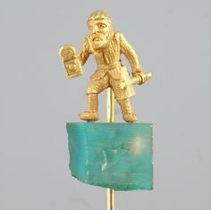 Yellow Gold Stick Pin of a Man W/ a Hammer Standing On a Pretty Stone