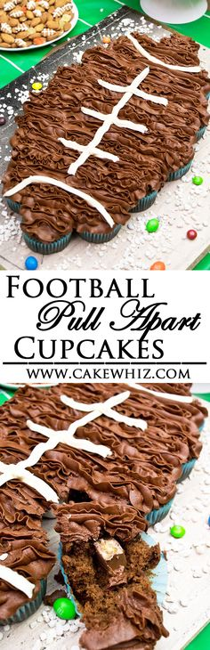 Enjoy the big game by making these FOOTBALL PULL APART CUPCAKES! Fun and easy to make for your Super Bowl bash! Plus, check out the huge dessert table packed with cool football snacks! {Ad} From cakewhiz.com
