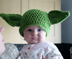 hand crochet Yoda hat