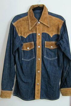 Mens denim shirt vintage western cowboy shirt by LaFincaVintage