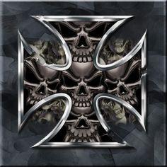 Metal Skull by on deviantART Skull Hand Tattoo, Skull Tattoo Design, Skull Tattoos, Badass Skulls, Grim Reaper Tattoo, Skull Stencil, Skull Pictures, Metal Skull, Skull Artwork