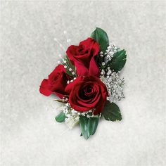Flowers by McDowell Mother of the Bride Triple Red Rose Corsage (10cmx15cm) £18