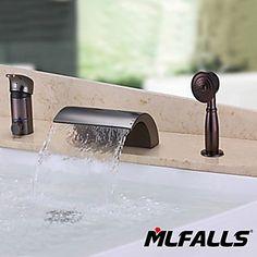 deckenmontiert Einhand Drei Löcher in Antike Bronze Duscharmaturen / Badewannenarmaturen / Waschbecken Wasserhahn