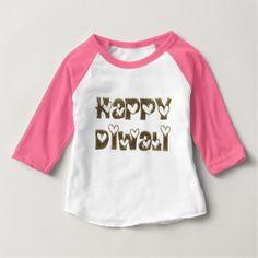 Happy Diwali Greeting Cute Hearts Typography Baby T-Shirt