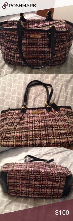 Gently used Coach Multicolor Handbag. This is a very Gently used Very Beautiful Multicolored Coach Handbag. This is the perfect Fall Winter bag. It has a zip closure with an insider zipped pocket along wit 2 side pockets for your keys and cell phone. This bag has Gold colored hardware. Coach Bags Satchels