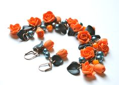 Set of 2 Orange Rose and Teal Blue Leaves Garden Bracelet and Earrings, Orange and Teal Jewelry sets, Orange Flower and Teal Leaves Bracelet...