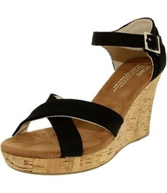 Toms Women's Strapy Wedge Canvas Cork Ankle-High Canvas Sandal