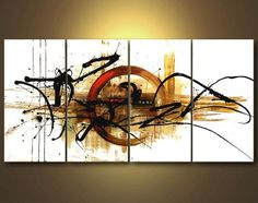 Amazon.com: Wieco Art -4 pcs Stretched and Framed 100% Hand-painted oil paintings The Fifth Planet- Home Decoration Abstract Oil Painting on Canvas 12x24inchx4pcs: Paintings For Living Room: Oil Paintings
