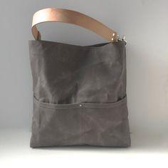 Sac fourre-tout en toile ciré, sac seau, sac gris, sac Hobo, sac Casual, sac à main