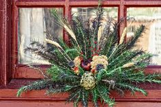 Colonial Christmas Window   rosemary window decoration at Colonial Williamsburg