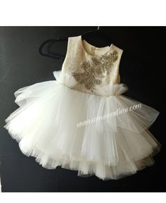 "Stunning flower girl dress ""Amelia"" with gold top and ivory pouffy tulle skirt, Easter dress, birthd Frilly Skirt, Gold Top, Easter Dress, Custom Dresses, Birthday Dresses, Couture Dresses, White Lace, Beautiful Dresses, Tulle"
