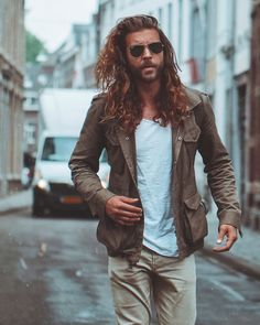 Mens Hairstyles With Beard, Hair And Beard Styles, Long Hair Styles, Male Hairstyles, Haircuts, Jack Greystone, Boho Fashion Fall, Men's Fashion, Long Hair Beard