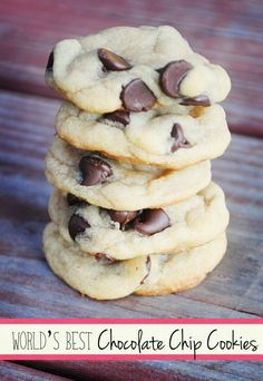 world's best chocolate chip cookies- Very easy and soft cookie recipe. Best part is there is no butter to fuss with the temperature of.