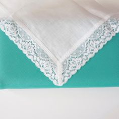 Irish linen and lace monogrammed handkerchief is perfect for weddings and gifts.