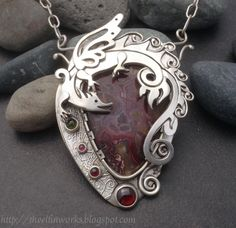 Large red crazy lace agate & sterling silver dragon, OOAK magical statement necklace, garnets and green tourmaline