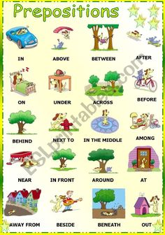 a lot of different sheets for prepositions. Very pretty English Worksheets For Kids, English Lessons For Kids, English Fun, Grammar Dictionary, English Picture Dictionary, Preposition Pictures, Preposition Activities, English Prepositions, English Vocabulary