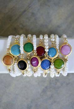 freshwater pearl jade bezel bracelets