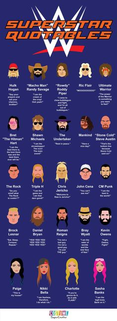 I've been watching this since it was WWF~ I still watch it today~ I like the new ones, but will always remember the old school ones too~ Quotes from your WWE superstars just in time for SummerSlam! Wwe Quotes, Wrestling Quotes, Golf Quotes, Wrestling Party, Wrestling Wwe, Wrestling Stars, Lucha Underground, Wwe Party, Wwe Birthday