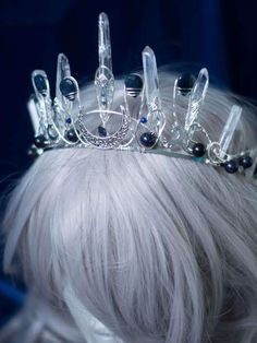 Sapphires and moons custom silver filled crown with quartz points