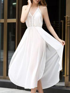 White Halter Chiffon High Slit Maxi Dress