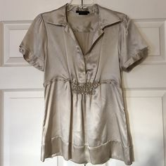 Taupe Blouse Short Sleeve 113