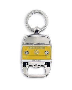 VW Bus T2 Key Ring with Bottle Opener - Yellow Bay Window