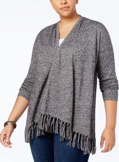 527c75311fb Style  amp  Co Womens Plus Size 1X Fringed Open-Front Cardigan Sweater Black  White