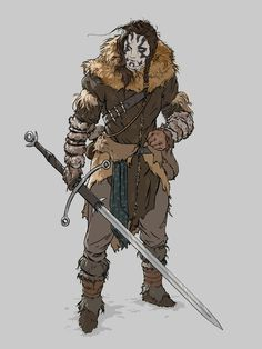 f Goliath Barbarian Light Armor Greatsword female Wilderness Traveler by Tom Vernon Field lg Fantasy Concept Art, Fantasy Armor, Fantasy Character Design, Character Creation, Character Design Inspiration, Character Concept, Character Art, Viking Character, Dungeons And Dragons Characters