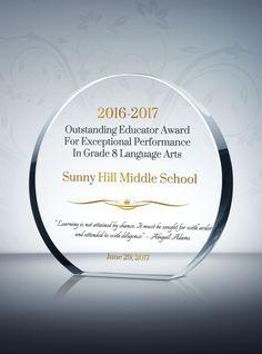 circle educator award plaque
