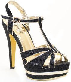5faab8567ed Glitter Cut-out Open Toe Platform T-Strap Women s High Heel Shoes. Vegan  Shoes