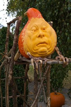 Amazing carved faces into pumpkins by Ray Villafane