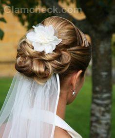 white flower wedding veil