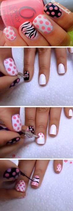 Polka Dot & Zebra Print Nail Art   18 Easy Summer Nails Designs for Summer   Cute Nail Art Ideas for Teens