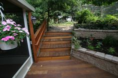 Deck built right into the landscaping.