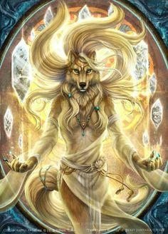 Goddess Arte Furry, Furry Art, Anime Wolf, Fantasy Wolf, Fantasy Art, Fantasy Creatures, Mythical Creatures, Wolf Goddess, Wolf Artwork