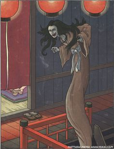 "Takaonna tall woman:APPEARANCE: Taka onna appear as ordinary, homely human women most of the time, but they have the power to elongate their bodies and grow to several meters in height. Like other brothel yokai, they are rarely seen outside of brothels and red light districts. They are fairly common yokai nonetheless. Sightings of these yokai peaked during the Edo period and continued up to the post-war period, when brothels and ""pleasure districts"" were at their height in Japan."